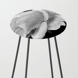 White Rose On Black Counter Stool