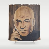 picard Shower Curtains featuring Jean-Luc Picard (Patrick Stewart)  by Andulino