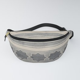 Ethnic geometric pattern with triangles circles shapes and lines, blue gray and beige Fanny Pack