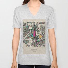 Colorful City Maps: Brisbane, Australia Unisex V-Neck