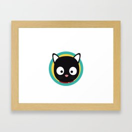 Black Cat with Green Circle Framed Art Print