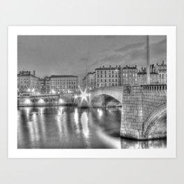 Bonaparte bridge in Lyon, France - hdr b&w Art Print