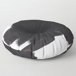 Black And White Minimalist Mid Century Abstract Ink Art Color Block Ominous Abstraction Floor Pillow