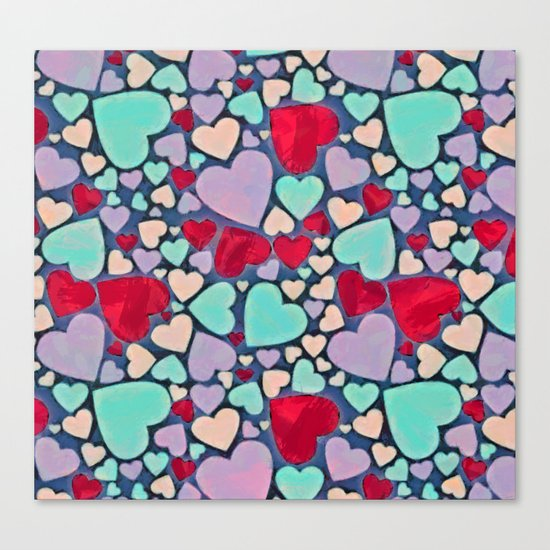 Sweet hearts mosaic pattern Canvas Print