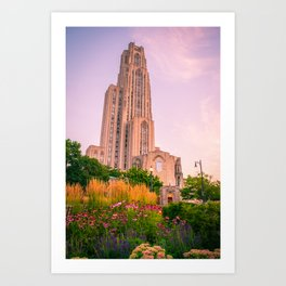 Pittsburgh Cathedral Of Learning Flower Garden Art Print