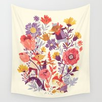 mouse Wall Tapestries featuring The Garden Crew by Teagan White
