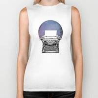 typewriter Biker Tanks featuring Typewriter by Rebecca Joy - Joy Art and Design