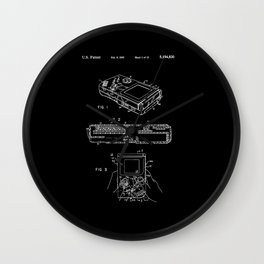 Nintendo Gameboy Patent - White on Black Wall Clock