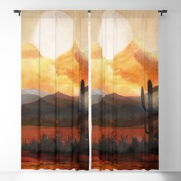 Desert in the Golden Sun Glow Blackout Curtain