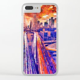 Hot air balloons over bridge and bay Clear iPhone Case