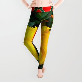 DECORATIVE TEAL-RED & YELLOW  MARIGOLD FLORAL Leggings