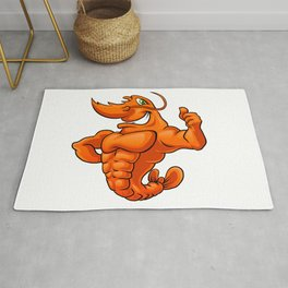 strong lobster cartoon Rug