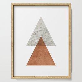 Marble copper triangle abstract Serving Tray