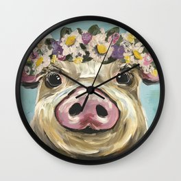 Pig Art, Flower Crown Pig, Farm Animal Wall Clock