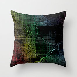 Scottsdale, AZ, USA, City, Map, Rainbow, Map, Art, Print Throw Pillow