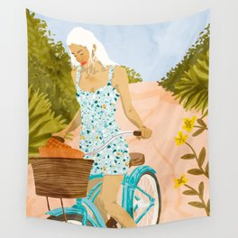 Biking In The Woods #illustration #painting Wall Tapestry