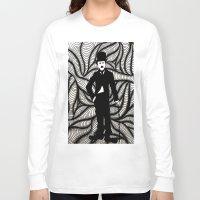 chaplin Long Sleeve T-shirts featuring Charlie Chaplin by Gabrielle Wall