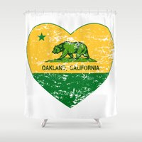 oakland Shower Curtains featuring Green and Yellow Oakland California Heart by NorCal