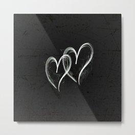 A Romantic Pair Of Silver Hearts Metal Print