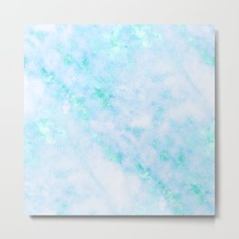 Blue Marble - Shimmery Turquoise Blue Sea Green Marble Metallic Metal Print