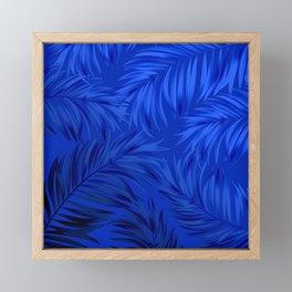 Palm Tree Fronds Brilliant Blue on Blue Hawaii Tropical Décor Framed Mini Art Print