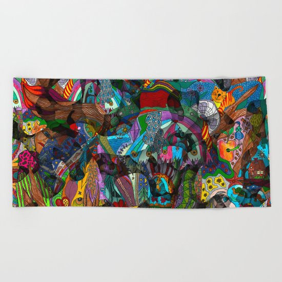 Every thought can change the day when let out in joyful play Beach Towel