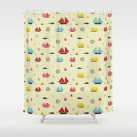 boats Shower Curtains featuring Boats by Annika Bäckström