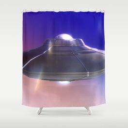 Retro Flying Saucer Shower Curtain