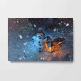 Snowman at night Metal Print
