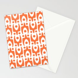 Mid Century Modern Abstract Pattern 541 Orange Stationery Cards