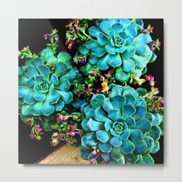 Beautiful Autumn plant green, blue Metal Print
