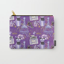 Fashion Victim - Paris France Elegance Shopping Girly in pink and purple Carry-All Pouch