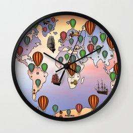 map of world hot balloon Wall Clock