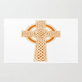 St Patrick's Day Celtic Cross Orange and White Rug