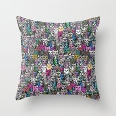 Gemstone Cats CYMK Throw Pillow