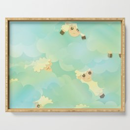 Heavenly Baby Sheep I - Mint Green, Baby Blue Colors Sky Background Serving Tray