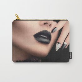 Fashion model girl with black gothic Carry-All Pouch