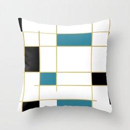 MidCentury Modern Art Aqua Gold Black Throw Pillow
