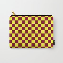 Electric Yellow and Burgundy Red Checkerboard Carry-All Pouch