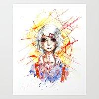 tokyo ghoul Art Prints featuring Tokyo Ghoul - Juuzou Suzuya by Kayla Phan