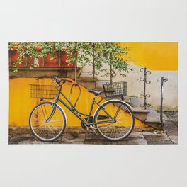 Bicycle Parked at Wall, Lucca, Italy Rug