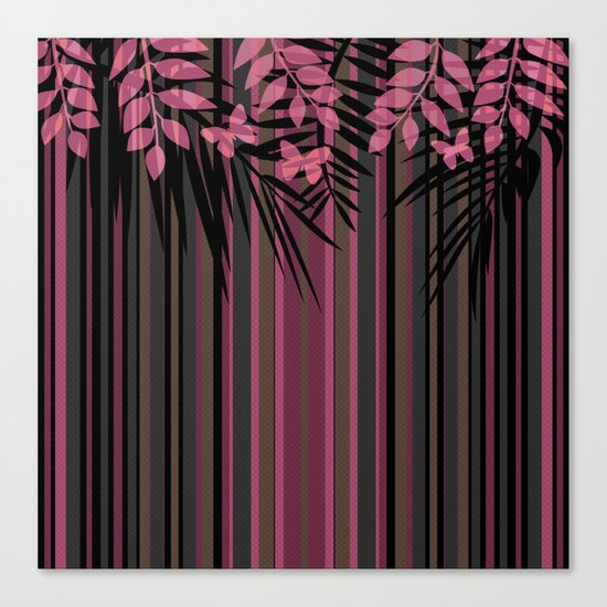Butterflies and leaves on a striped red-and-black background . Canvas Print