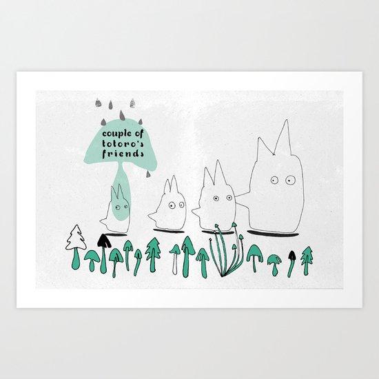 Couple of TOTORO's Friends Art Print