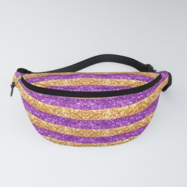 Purple and Gold Glitter Stripes Baton Rouge New Orleans Nola Louisiana Los Angeles California Fanny Pack