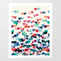 aqua Art Prints featuring Heart Connections - watercolor painting by micklyn