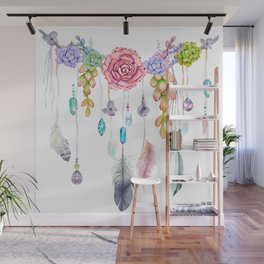 Spirit Gazer With Crystals And Succulents Wall Mural