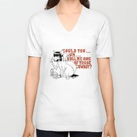 pulp fiction V-neck T-shirts featuring Fox by LullaBy D