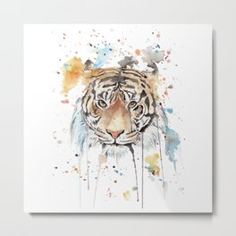 """Watercolor Painting of Picture """"Portrait of a Tiger"""" Metal Print"""