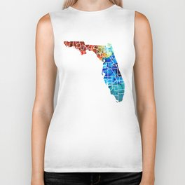 Florida - Map by Counties Sharon Cummings Art Biker Tank