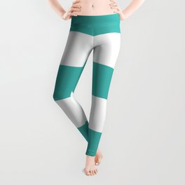 Wide Horizontal Stripes - White and Verdigris Leggings